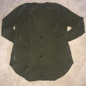 AEO Olive Green Button-Front Cardigan. Size L.